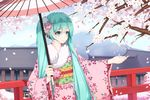 1girl absurdres artist_name blue_eyes blue_hair bridge cherry_blossoms cloud fur-trimmed_kimono fur_trim hair_ornament hatsune_miku highres japanese_clothes kimono long_hair outstretched_arm parasol sash sky smile solo tagme tree twintails umbrella very_long_hair vocaloid