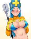 1girl bakkanki bikini blue_bikini blue_hair blush bodysuit breasts dragon_quest dragon_quest_iii embarrassed hands_on_own_chest hat large_breasts long_hair navel nose_blush orange_bodysuit priest_(dq3) red_eyes solo staff swimsuit turtleneck upper_body very_long_hair