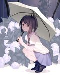 1girl :t alternate_costume black_boots blue_skirt boots brown_eyes brown_hair commentary_request floral_background flower from_side full_body hair_ribbon hydrangea i-401_(kantai_collection) kantai_collection keemu_(occhoko-cho) looking_at_viewer outdoors pleated_skirt ponytail pout rain ribbon rubber_boots school_uniform serafuku shoes short_ponytail skirt solo squatting tan tanline umbrella