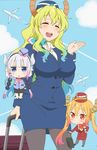 3girls absurdres bangs beads blonde_hair blush breasts chibi dragon_girl dragon_horns eyebrows_visible_through_hair flight_attendant formal gradient_hair green_hair hair_beads hair_ornament hat highres horns kanna_kamui kobayashi-san_chi_no_maidragon large_breasts lavender_hair long_hair low_twintails multicolored_hair multiple_girls official_art pantyhose pencil_skirt quetzalcoatl_(maidragon) skirt skirt_suit smile stewardess suit tooru_(maidragon) twintails uniform