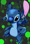 2009 4_arms 4_fingers 4_toes alien antennae back_spines black_eyes blue_claws blue_fur blue_nose chest_tuft claws digital_media_(artwork) digital_painting_(artwork) disney experiment_(species) fur grey_background head_tuft lilo_and_stitch looking_at_viewer multi_arm multi_limb no_sclera notched_ear o-c-disorder reaching signature simple_background solo stitch toes tuft