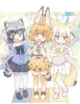 3girls :3 :d animal_ear_fluff animal_ears bangs black_eyes black_hair black_neckwear black_skirt blonde_hair blunt_bangs bow bowtie brown_eyes center_frills commentary_request common_raccoon_(kemono_friends) double_w elbow_gloves eyebrows_visible_through_hair fang fangs fennec_(kemono_friends) fox_ears fox_tail full_body fur_collar fur_trim gloves grey_hair high-waist_skirt highres kemono_friends kolshica looking_at_viewer multicolored_hair multiple_girls open_mouth pleated_skirt print_legwear print_neckwear print_skirt puffy_short_sleeves puffy_sleeves raccoon_ears raccoon_tail serval_(kemono_friends) serval_ears serval_print serval_tail shoes short_hair short_sleeves skirt smile tail thighhighs w white_hair white_skirt yellow_eyes yellow_neckwear