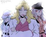 3girls balalaika_(black_lagoon) black_lagoon blonde_hair blue_eyes breasts cigar dress female_admiral_(kantai_collection) gangut_(kantai_collection) grey_hair hat hibiki_(kantai_collection) highres jacket kantai_collection long_hair military military_uniform multiple_girls red_eyes red_jacket red_shirt sailor_dress sailor_hat school_uniform shirt silver_hair skirt smile uniform verniy_(kantai_collection)