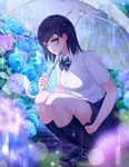 1girl bangs black_hair blue_skirt blurry blush bokeh breasts depth_of_field flower giba_(out-low) highres holding holding_skirt holding_umbrella hydrangea legs_together loafers looking_at_viewer medium_breasts navy_blue_legwear original outdoors parted_lips pleated_skirt rain ribbed_legwear school_uniform shoes short_sleeves skirt solo squatting umbrella yellow_eyes