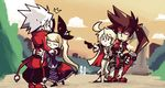 2boys 2girls black_dress blazblue blazblue:_central_fiction blonde_hair brown_hair dress gloves gothic_lolita guilty_gear guilty_gear_xrd hair_ribbon hug jack-o_(guilty_gear) lolita_fashion long_hair multiple_boys multiple_girls pointing rachel_alucard ragna_the_bloodedge red_eyes ribbon setz sol_badguy surprised white_hair