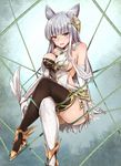 1girl animal_ears bangs black_legwear blue_eyes blunt_bangs blush breasts elbow_gloves erun_(granblue_fantasy) gloves granblue_fantasy invisible_chair kappamaru korwa large_breasts looking_at_viewer mismatched_legwear parted_lips sideboob silver_hair sitting smile solo thighhighs thighs white_legwear