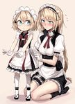 2girls adjusting_clothes apron blonde_hair blue_eyes blush braid commentary_request eyebrows_visible_through_hair flying_sweatdrops frilled_apron frilled_sleeves frills full_body g36_(girls_frontline) girls_frontline glasses gloves long_ponytail maid maid_apron maid_headdress multiple_girls ponytail red_ribbon ribbon seiza shijiu_(adamhutt) short_hair single_braid sitting skirt thigh_strap white_gloves white_legwear younger