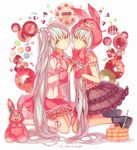 2girls animal_hood bangs black_skirt bunny_hood candy closed_mouth doughnut food fork frills from_side gloves grey_eyes grey_hair hand_holding hatsune_miku highres hood interlocked_fingers kneeling long_hair long_sleeves looking_at_viewer lots_of_laugh_(vocaloid) multiple_girls pancake parted_lips pink_gloves pink_skirt sailor_collar school_uniform serafuku short_sleeves sidelocks skirt stuffed_animal stuffed_bunny stuffed_toy sweets symmetry twintails very_long_hair vocaloid yasiromann