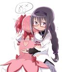 2girls akemi_homura alknasn black_hair blush braid capelet dress embarrassed glasses hair_ribbon hairband hug kaname_madoka long_hair magical_girl mahou_shoujo_madoka_magica multiple_girls pink_dress pink_hair purple_eyes ribbon teardrop twin_braids x_x