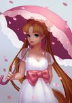 1girl absurdres arm_behind_back bangs bishoujo_senshi_sailor_moon blue_eyes bow breasts cleavage double_bun dress earrings highres holding holding_umbrella jewelry large_bow long_hair looking_at_viewer medium_breasts pearl_earrings petals pink_bow pink_umbrella sash see-through short_sleeves solo tsukino_usagi twintails umbrella very_long_hair white_dress