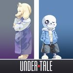 anthro bone caprine clothing dress duo eyes_closed female goat laugh male mammal numuya one_eye_closed sans_(undertale) shorts skeleton smile standing toriel undertale video_games wink