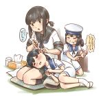 3girls bandaid bandaid_on_face black_hair black_sailor_collar black_skirt blue_sailor_collar bob_cut brown_eyes commentary_request cushion daitou_(kantai_collection) dress ear_cleaning eyes_closed fubuki_(kantai_collection) full_body green_eyes grin hat hiburi_(kantai_collection) high_ponytail kantai_collection karasu_(naoshow357) low_ponytail lying mimikaki multiple_girls on_side pleated_skirt ponytail remodel_(kantai_collection) sailor_collar sailor_dress sailor_hat school_uniform seiza serafuku short_hair short_ponytail short_sleeves sidelocks sitting skirt smile tissue_box translation_request white_dress white_hat white_legwear