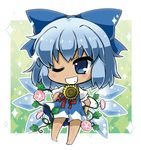 >;d 1girl ;d bangs barefoot blue_bow blue_dress blue_eyes blush bow chibi cirno commentary_request dress flower full_body green_background grin hair_bow hand_on_hip hidden_star_in_four_seasons ice ice_wings light_blue_hair looking_at_viewer noai_nioshi one_eye_closed open_mouth outside_border plant puffy_short_sleeves puffy_sleeves red_ribbon ribbon short_hair short_sleeves smile solo sparkle standing sunflower tan tanned_cirno teeth touhou vines white_border wings
