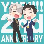 2boys ^_^ anniversary black_hair bow bowtie chains closed_eyes english_text eyes_closed formal hand_holding heart-shaped_mouth ice_skates katsuki_yuuri male_focus multiple_boys open_mouth ruei_(chicking) silver_hair skates smile suit v viktor_nikiforov waistcoat yuri!!!_on_ice