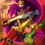 blue_eyes clothing dark_skin ear_piercing female genie gun hair handgun hipsterant humanoid long_hair melee_weapon not_furry piercing pointy_ears ponytail purple_hair ranged_weapon shantae shantae_(series) solo sword video_games weapon