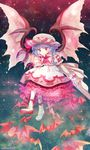 1girl amo ascot bat_wings blue_hair dress full_body hat highres lace lace-trimmed_dress mob_cap petticoat puffy_short_sleeves puffy_sleeves red_eyes remilia_scarlet short_sleeves solo touhou white_dress wings