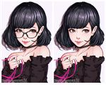 1girl artist_name black-framed_eyewear black_choker black_hair blue_eyes bob_cut choker closed_mouth collarbone copyright_name eyelashes glasses holding_ribbon lace_choker long_sleeves looking_past_viewer magion02 ms.assistant original pink_ribbon purple_background ribbon secret_assistant_(ms.assistant) shadow shiny shiny_hair short_hair simple_background strapless variations white_border