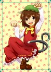 animal_ears brown_eyes brown_hair cat_ears cat_tail chen dress hat mob_cap multiple_tails open_mouth paw_pose red_dress smile tail touhou white_legwear yuu_yuu_(netaeshi58)