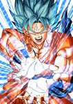 1boy absurdres attack attacking_viewer blue_background blue_eyes blue_hair colorful dougi dragon_ball dragonball_z energy energy_ball fighting_stance fingernails greymon_(nodoame1215) highres kamehameha looking_at_viewer official_style open_hands open_mouth outstretched_arms outstretched_hand serious short_hair solo son_gokuu spiked_hair super_saiyan_blue
