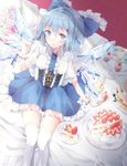 1girl blue_dress blue_eyes blue_hair blue_ribbon cake cirno dress flower food fruit highres ice ice_wings looking_at_viewer pancake ribbon shiromoru_(yozakura_rety) solo strawberry touhou wings