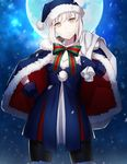 1girl bangs black_legwear blue_dress blue_gloves capelet closed_mouth cowboy_shot dress eyebrows_visible_through_hair fate/grand_order fate_(series) full_moon fur_trim gloves grey_hair hand_on_hip hat looking_at_viewer moon night outdoors pantyhose saber saber_alter santa_alter santa_costume santa_hat sidelocks solo thighhighs uraha yellow_eyes