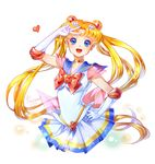 1girl :d bishoujo_senshi_sailor_moon blonde_hair blue_eyes blue_sailor_collar bow brooch circlet cowboy_shot crescent crescent_earrings double_bun earrings elbow_gloves gloves hair_ornament hairpin hand_on_hip jewelry kaminary long_hair looking_at_viewer magical_girl multicolored multicolored_clothes multicolored_skirt open_mouth pleated_skirt red_bow sailor_moon signature skirt smile solo super_sailor_moon tsukino_usagi twintails v white_background white_gloves yellow_choker