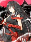 1girl akame akame_ga_kill! belt black_dress black_gloves black_hair breasts dress elbow_gloves eyebrows_visible_through_hair floating_hair gloves hair_between_eyes highres holding holding_sheath holding_sword holding_weapon isshiki_(ffmania7) katana long_hair medium_breasts necktie pleated_dress red_eyes red_necktie sheath short_dress sleeveless sleeveless_dress smoke solo standing sword unsheathing very_long_hair weapon