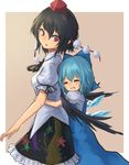 2girls :o black_hair black_ribbon black_wings blue_bow blue_dress blue_hair blush bow breasts cirno collared_shirt commentary_request dress eyes_closed frilled_skirt frills grin hair_bow hat height_difference hug hug_from_behind ice ice_wings looking_back multiple_girls neck_ribbon patterned_clothing pointy_ears pom_pom_(clothes) puffy_sleeves red_hair red_hat ribbon roke_(taikodon) shameimaru_aya shirt short_hair short_sleeves simple_background skirt sleeveless sleeveless_dress smile star tan_background tokin_hat touhou white_background white_shirt wing_collar wings