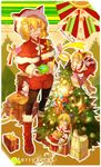 2girls alice_margatroid animal_ears blonde_hair blue_eyes blush bow candy candy_cane cat_ears christmas christmas_tree eyebrows_visible_through_hair fake_animal_ears food gift hair_bow hat highres holding holding_gift long_hair looking_at_viewer merry_christmas multiple_girls open_mouth red_bow rhachen santa_costume santa_hat shanghai_doll short_hair smile star touhou winter