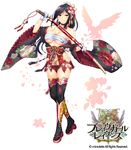 1girl bare_shoulders black_hair black_legwear blush brave_girl_ravens breasts brown_eyes budget_sarashi cleavage clog_sandals closed_mouth collarbone floral_print flower full_body groin hair_flower hair_ornament holding holding_sword holding_weapon horosuke_(toot08) japanese_clothes jitome katana kimono large_breasts long_hair long_sleeves looking_at_viewer miniskirt obi off_shoulder official_art ponytail red_skirt revealing_clothes sarashi sash sheath sidelocks skirt smile solo standing sword thighhighs underboob unsheathing weapon wide_sleeves
