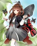 1girl :d antenna_hair bangs blue_sky brown_hair bug butterfly butterfly_wings day flower grey_skirt hair_flower hair_ornament highres insect leaf long_hair long_sleeves looking_at_viewer norikoseal open_mouth outdoors red_eyes sidelocks skirt sky smile solo thighhighs white_legwear wings