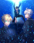 3boys baseball_cap blonde_hair blue_background blue_eyes blue_scarf covered_mouth fate/grand_order fate/prototype fate/zero fate_(series) formal genderswap genderswap_(ftm) hat heroine_x highres jacket looking_at_viewer looking_back male_focus multiple_boys pentarou_(2233456) rojiura_satsuki:_chapter_heroine_sanctuary saber saber_(fate/prototype) saber_alter scarf simple_background suit sword track_jacket upper_body weapon white_hair yellow_eyes