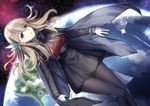 1girl black_legwear black_skirt blonde_hair blue_eyes breasts capelet gloves hair_ornament hairband highres lexington_(cv-16)_(zhan_jian_shao_nyu) long_hair long_sleeves nebula necktie pantyhose planet ryuuzouji_usagi skirt solo space star_(sky) white_gloves zhan_jian_shao_nyu