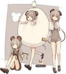 3girls animal_ears bare_legs black_shorts brown_shoes capelet cookie_(touhou) dowsing_rod dress egg_costume grey_dress grey_hair jewelry long_sleeves miyako_(naotsugu) mouse_ears mouse_tail multiple_girls nazrin nyon_(cookie) pencil pendant red_eyes running shoes short_dress short_hair shorts silver_eyes sitting socks tail touhou white_legwear