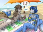 2017 beach bedroom_eyes bikini blue_eyes blue_fur blue_hair blush brown_hair clothing fur grey_fur hair half-closed_eyes heresy_(artist) jewelry kathrin_(twokinds) krystal lotion multicolored_fur nintendo nude outside sailboat sand sea seaside seductive speech_bubble spots star_fox suggestive sunbathing swimsuit tattoo thought_bubble two_tone_fur twokinds umbrella video_games water white_fur