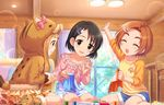 3girls :o animal_costume artist_request bangs black_eyes black_hair blunt_bangs blush bow brown_eyes bunny_hair_ornament child collarbone cosplay eyes_closed floral_print frills hair_ornament hairclip heart heart_print ichihara_nina idolmaster idolmaster_cinderella_girls idolmaster_cinderella_girls_starlight_stage kigurumi long_hair long_sleeves looking_at_another multiple_girls needle official_art open_mouth orange_hair pig_costume pin_cushion ribbon ryuuzaki_kaoru sasaki_chie sewing sewing_needle short_hair shorts sitting skirt smile socks tail window