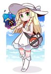 1girl arm_up bag bangs bare_shoulders blonde_hair blue_ribbon blue_shoes blue_sky blunt_bangs blush braid chibi closed_mouth cloud collarbone collared_dress commentary_request cosmog day dress duffel_bag green_eyes hat hat_ribbon kneehighs lillie_(pokemon) long_hair looking_at_viewer naga_u outdoors outside_border poke_ball_theme pokemon pokemon_(creature) pokemon_(game) pokemon_sm ribbon see-through shoes sky sleeveless sleeveless_dress smile standing sun_hat sundress twin_braids white_border white_dress white_hat white_legwear