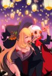bare_shoulders beanie black_cape black_nails black_pants black_robe black_sleeves black_suit blonde_hair breasts cape cellphone chorimokki cleavage detached_sleeves fangs formal hair_ornament hat hat_ornament hikari_(pokemon) leaning_forward long_hair medium_breasts multiple_girls nail_polish orange_eyes pants phone poke_ball pokemon pokemon_(game) pokemon_dppt pose pumpkaboo purple_background red_cape red_neckwear shirona_(pokemon) smile standing suit taking_picture tongue tongue_out very_long_hair wand witch_hat yuri