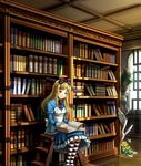 1girl 43 alice_(wonderland) alice_in_wonderland black_legwear blonde_hair blue_eyes book book_on_lap bookshelf eyebrows_visible_through_hair holding holding_book kneehighs library long_hair open_book original sitting stool striped striped_legwear
