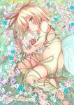 1girl blonde_hair blue_eyes flower ging1993 grass hair_ribbon highres looking_at_viewer lying medicine_melancholy nude object_hug on_ground on_side red_ribbon ribbon short_hair skeleton sketch skull smile solo touhou