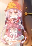 1girl backpack bag bangs beads blue_eyes blunt_bangs capelet center_frills chocolate chocolate_heart eyebrows_visible_through_hair hair_beads hair_ornament hat heart highres holding kanna_kamui kobayashi-san_chi_no_maidragon lavender_hair long_hair low_twintails mayuzaki_yuu school_hat solo standing thighhighs twintails valentine white_legwear