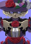 2015 :3 anthro berry big_breasts black_nose bob_cut breasts cat clothed clothing digital_media_(artwork) dress feathers feline female flower food front_view fruit fully_clothed fur hair hand_on_chest kemono lace leaf long_sleeves looking_at_viewer mammal nogi open_mouth plant purple_background purple_clothing purple_dress purple_eyes purple_hat purple_theme red_tongue rose short_hair signature simple_background slit_pupils smile solo standing tan_fur tan_hair tongue