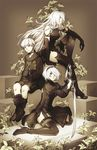 1boy 2girls black_boots black_dress black_hairband black_legwear boots choker dress elbow_gloves feather-trimmed_sleeves gloves hairband high_heels juliet_sleeves katana kneeling long_hair long_sleeves looking_at_viewer multiple_girls nier_(series) nier_automata no_blindfold puffy_sleeves reema_and short_hair sitting sword thighhighs_under_boots wariza weapon white_hair yorha_no._2_type_b yorha_no._9_type_s yorha_type_a_no._2