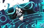 1girl absurdres black_bow black_gloves black_legwear blue_eyes blue_hair blush bow chestnut_mouth elbow_gloves eyebrows_visible_through_hair gloves hatsune_miku highres jyt long_hair looking_at_viewer megaphone open_mouth solo subwoofer thighhighs twintails vocaloid