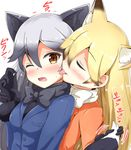 2girls aikawa_ryou animal_ears black_bow black_bowtie black_gloves blonde_hair blush bow bowtie brown_eyes eyes_closed ezo_red_fox_(kemono_friends) fox_ears gloves highres kemono_friends licking long_hair multiple_girls one_eye_closed silver_fox_(kemono_friends) tongue tongue_out yuri