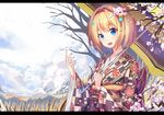1girl blonde_hair blue_eyes blush cherry_blossoms echj eyebrows_visible_through_hair flower hair_flower hair_ornament hairband holding holding_umbrella japanese_clothes kimono looking_at_viewer nail_polish open_mouth original parasol red_nails short_hair teeth umbrella winter