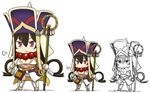 >:< 1girl breasts brown_hair chibi closed_mouth fate/grand_order fate_(series) full_body gourd hair_rings hamu_koutarou hat highres large_breasts long_hair purple_eyes revealing_clothes shakujou staff standing white_background xuanzang_(fate/grand_order)