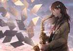 1girl blue_bow blush bow brown_hair envelope eyebrows_visible_through_hair eyes_closed hair_bow holding_instrument instrument long_hair long_sleeves looking_away ng_(chaoschyan) original saxophone solo
