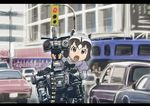 1girl animal_ears black_hair bow bowtie brown_eyes car commentary_request common_raccoon_(kemono_friends) fang gloves grey_hair ground_vehicle johnny_5 kemono_friends mechanical motor_vehicle multicolored_hair open_mouth outdoors raccoon_ears robot short_circuit_2 short_hair short_sleeves traffic_light ueyama_michirou