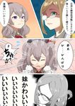 2girls beret blue_eyes comic epaulettes eyes_closed flying_sweatdrops folded_ponytail glasses gloves green_eyes grey_shirt hair_between_eyes hat jacket kantai_collection kashima_(kantai_collection) katori_(kantai_collection) kerchief light_brown_hair long_sleeves multiple_girls open_mouth shaded_face shirt short_hair silver_hair speech_bubble tachikoma_(mousou_teikoku) translation_request two_side_up white_gloves white_jacket